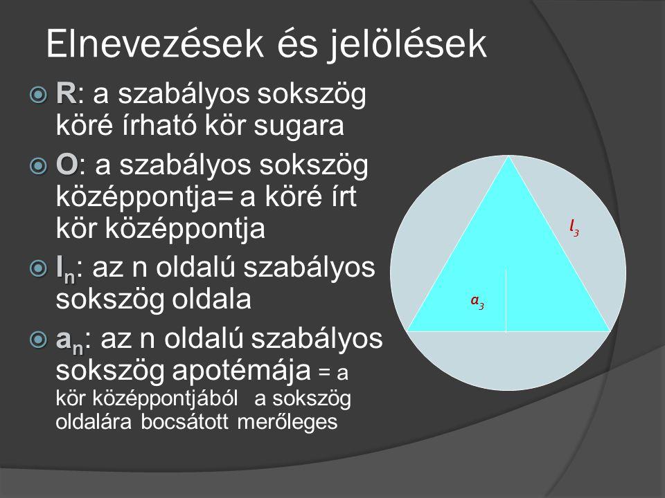 Elnevezések és jelölések  R  R: a szabályos sokszög köré írható kör sugara  O  O: a szabályos sokszög középpontja= a köré írt kör középpontja  l