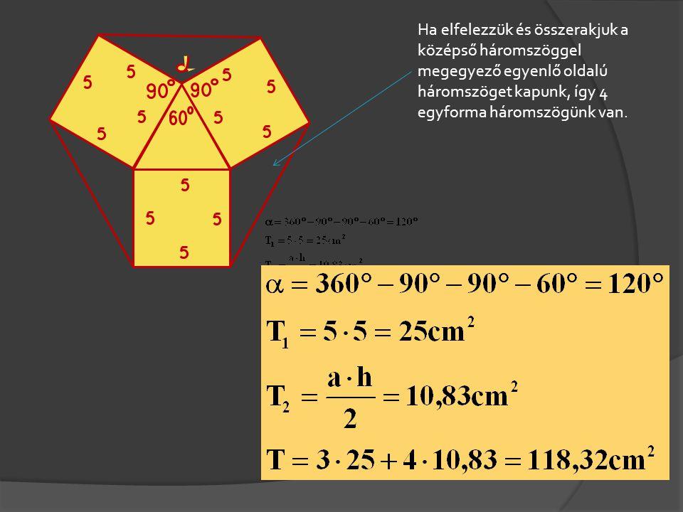 Ha elfelezzük és összerakjuk a középső háromszöggel megegyező egyenlő oldalú háromszöget kapunk, így 4 egyforma háromszögünk van.
