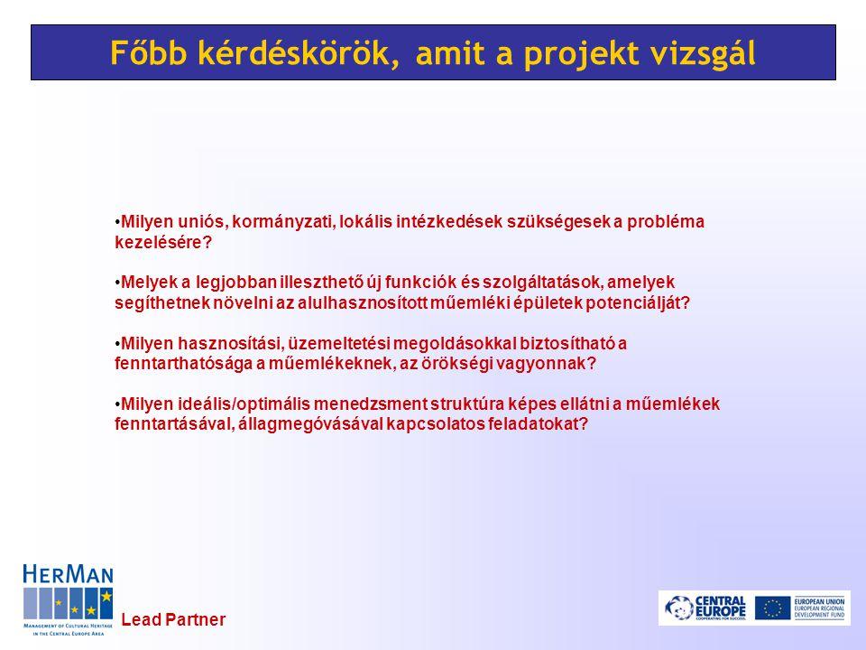 Lead Partner Főbb kérdéskörök, amit a projekt vizsgál Milyen uniós, kormányzati, lokális intézkedések szükségesek a probléma kezelésére.