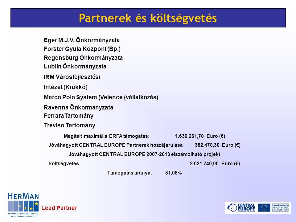 Lead Partner Partnerek és költségvetés Eger M.J.V. Önkormányzata Forster Gyula Központ (Bp.) Regensburg Önkormányzata Lublin Önkormányzata IRM Városfe