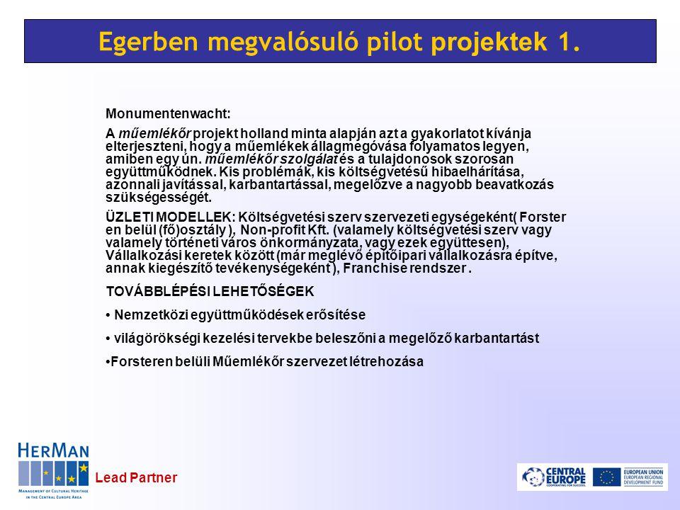 Lead Partner Egerben megvalósuló pilot projektek 1.