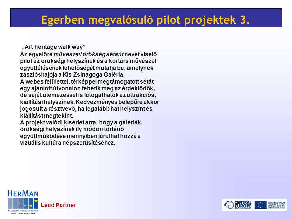 Lead Partner Egerben megvalósuló pilot projektek 3.