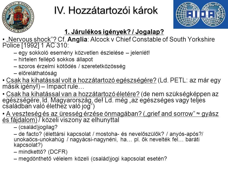 IV.Hozzátartozói károk 1. Járulékos igények. / Jogalap.
