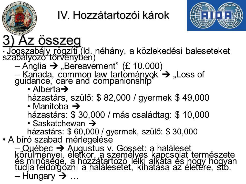 IV.Hozzátartozói károk 3) Az összeg Jogszabály rögzíti (ld.