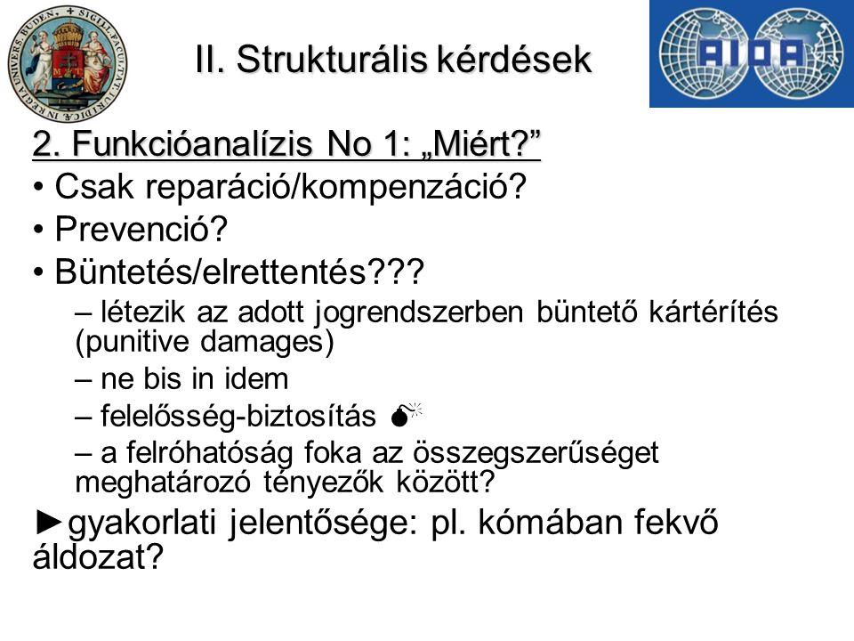 """II. Strukturális kérdések 2. Funkcióanalízis No 1: """"Miért?"""" Csak reparáció/kompenzáció? Prevenció? Büntetés/elrettentés??? – létezik az adott jogrends"""