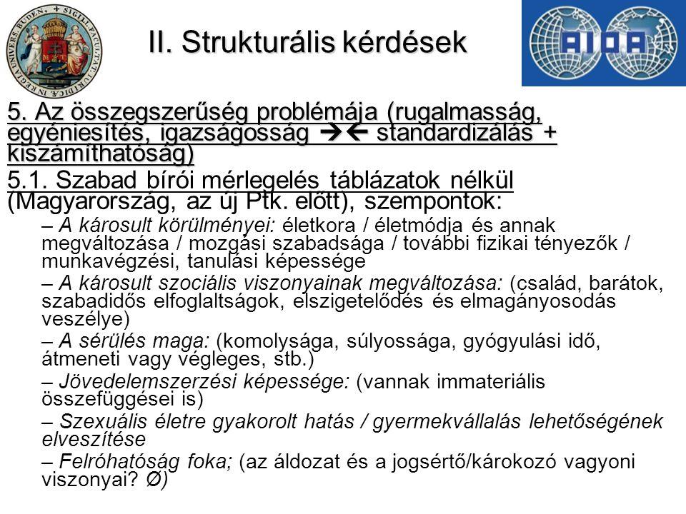 II. Strukturális kérdések 5. Az összegszerűség problémája (rugalmasság, egyéniesítés, igazságosság  standardizálás + kiszámíthatóság) 5.1. Szabad bí