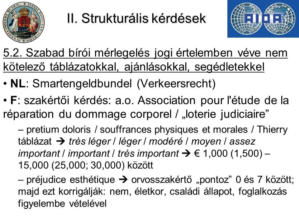 II. Strukturális kérdések 5.2. Szabad bírói mérlegelés jogi értelemben véve nem kötelező táblázatokkal, ajánlásokkal, segédletekkel NL: Smartengeldbun