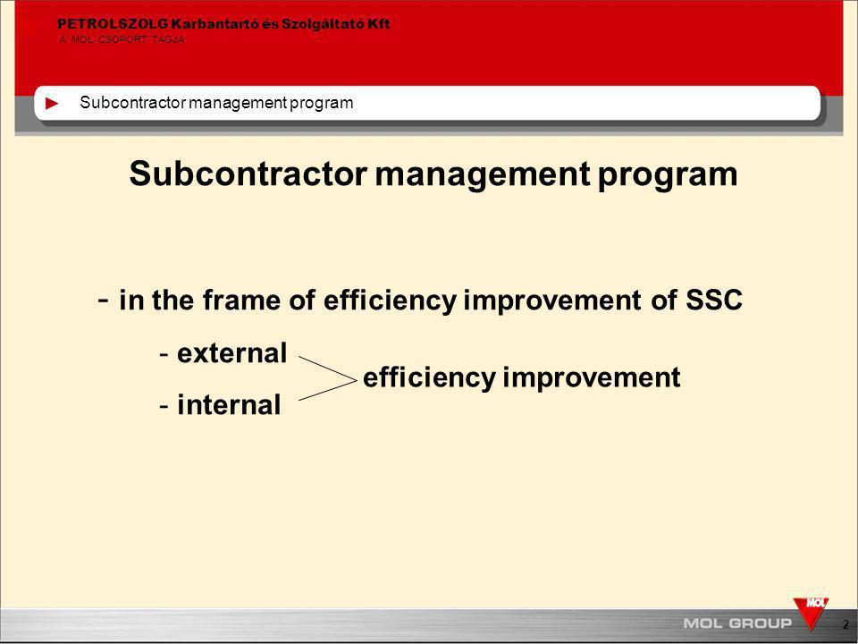 3 PETROLSZOLG Karbantartó és Szolgáltató Kft A MOL-CSOPORT TAGJA Subcontractor management program Overview of SSC's subcontractors Total: 2 067 Petrolszolg: 1 465 SMaO: 636 Common: 34 Framework agreement: 542