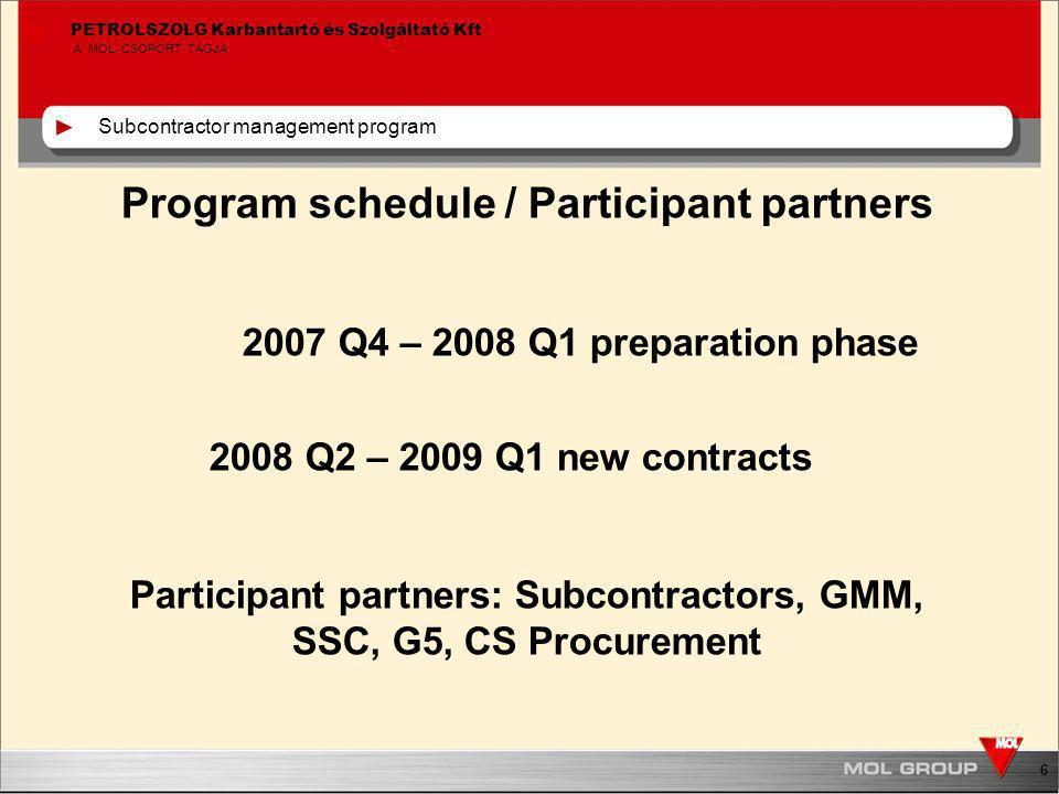 6 PETROLSZOLG Karbantartó és Szolgáltató Kft A MOL-CSOPORT TAGJA Program schedule / Participant partners 2007 Q4 – 2008 Q1 preparation phase 2008 Q2 – 2009 Q1 new contracts Participant partners: Subcontractors, GMM, SSC, G5, CS Procurement Subcontractor management program