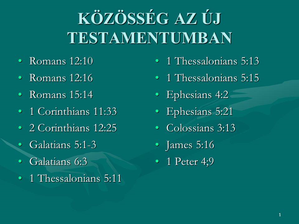1 KÖZÖSSÉG AZ ÚJ TESTAMENTUMBAN Romans 12:10Romans 12:10 Romans 12:16Romans 12:16 Romans 15:14Romans 15:14 1 Corinthians 11:331 Corinthians 11:33 2 Corinthians 12:252 Corinthians 12:25 Galatians 5:1-3Galatians 5:1-3 Galatians 6:3Galatians 6:3 1 Thessalonians 5:111 Thessalonians 5:11 1 Thessalonians 5:13 1 Thessalonians 5:15 Ephesians 4:2 Ephesians 5:21 Colossians 3:13 James 5:16 1 Peter 4;9