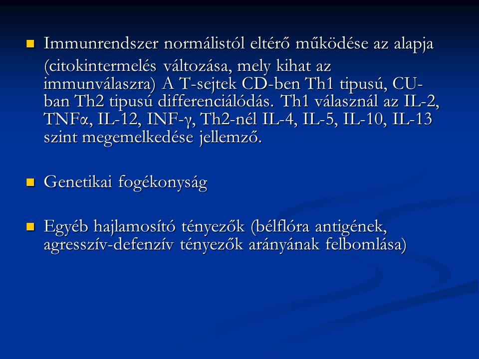 Diagnosztika: Colitis ulcerosa Colonscopia, kapszulás endoscopia Colonscopia, kapszulás endoscopia Kontrasztos Rtg.