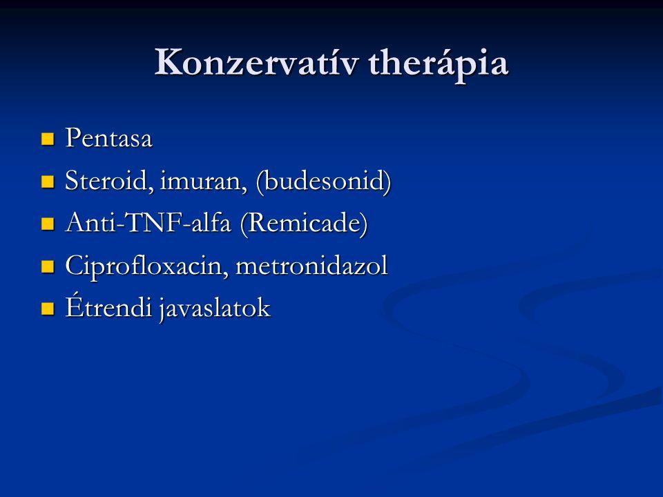 Konzervatív therápia Pentasa Pentasa Steroid, imuran, (budesonid) Steroid, imuran, (budesonid) Anti-TNF-alfa (Remicade) Anti-TNF-alfa (Remicade) Cipro