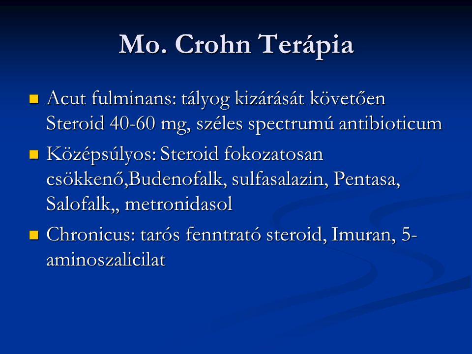 Mo. Crohn Terápia Acut fulminans: tályog kizárását követően Steroid 40-60 mg, széles spectrumú antibioticum Acut fulminans: tályog kizárását követően