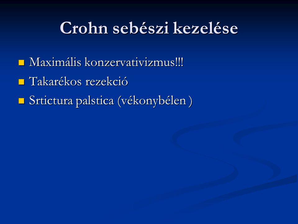 Crohn sebészi kezelése Maximális konzervativizmus!!! Maximális konzervativizmus!!! Takarékos rezekció Takarékos rezekció Srtictura palstica (vékonybél