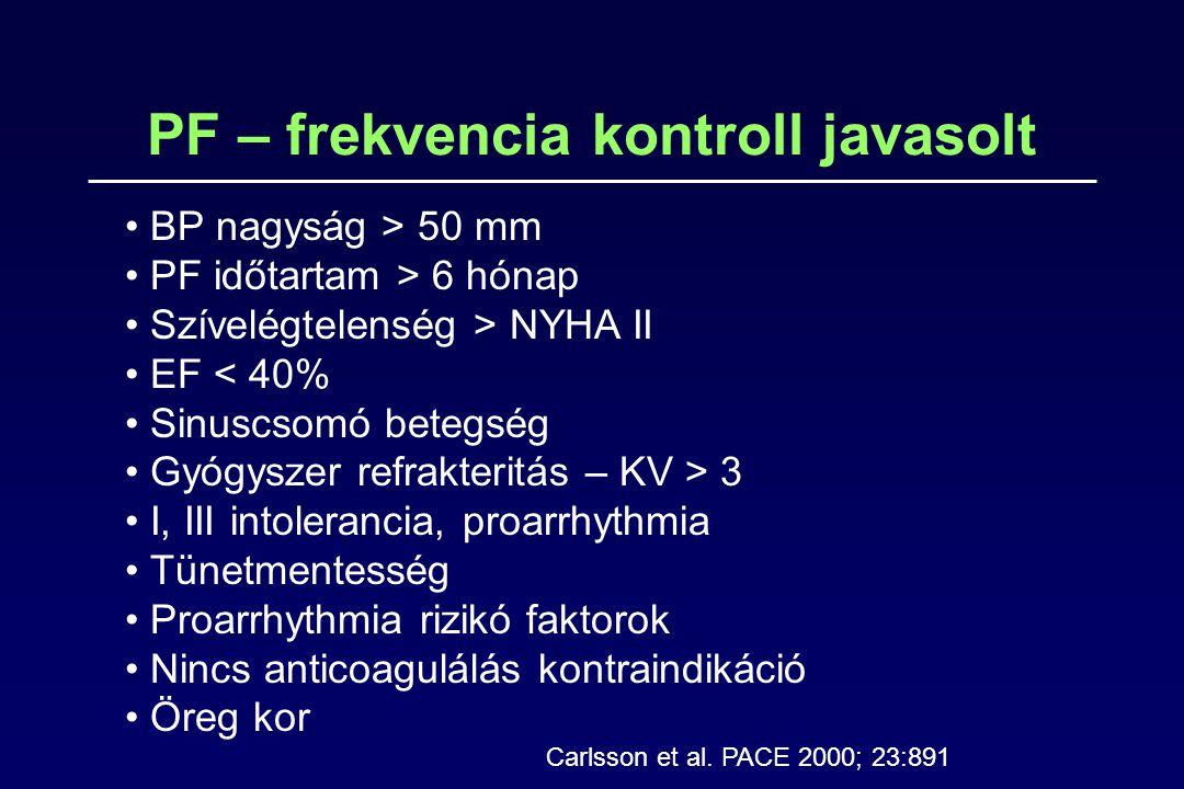 PF – frekvencia kontroll javasolt BP nagyság > 50 mm PF időtartam > 6 hónap Szívelégtelenség > NYHA II EF < 40% Sinuscsomó betegség Gyógyszer refrakte