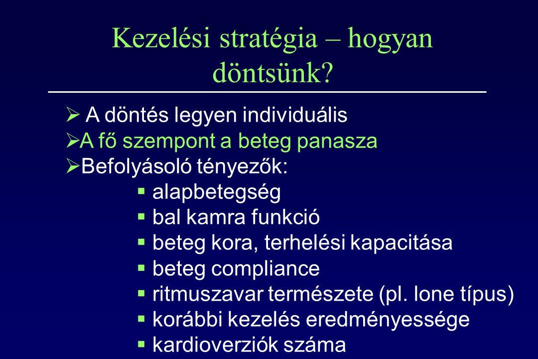 Kezelési stratégia – hogyan döntsünk?  A döntés legyen individuális  A fő szempont a beteg panasza  Befolyásoló tényezők:  alapbetegség  bal kamr