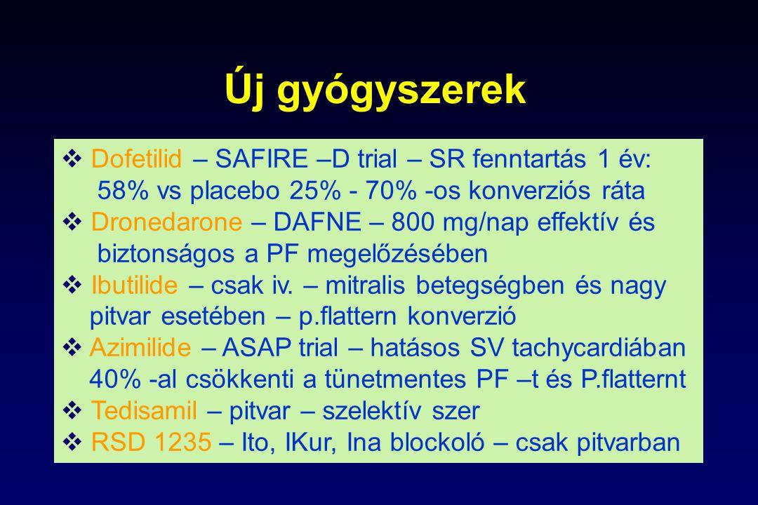 Új gyógyszerek  Dofetilid – SAFIRE –D trial – SR fenntartás 1 év: 58% vs placebo 25% - 70% -os konverziós ráta  Dronedarone – DAFNE – 800 mg/nap eff