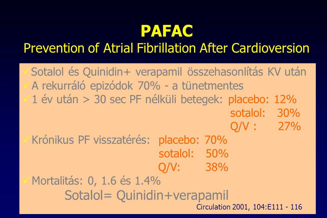 PAFAC Prevention of Atrial Fibrillation After Cardioversion Sotalol és Quinidin+ verapamil összehasonlítás KV után A rekurráló epizódok 70% - a tünetm