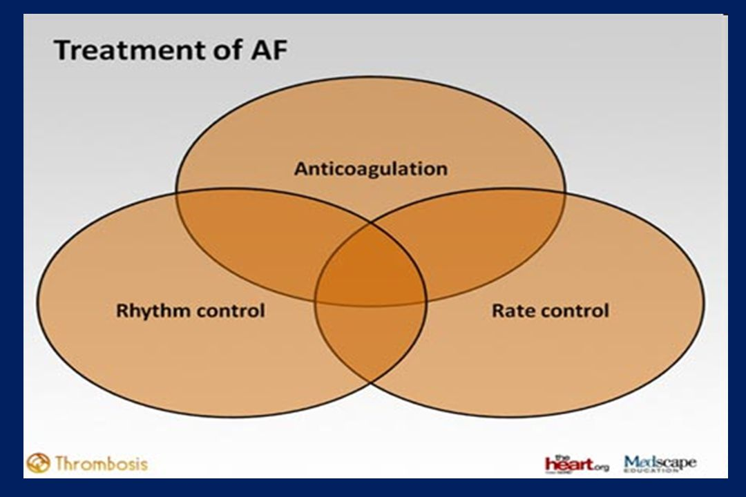 AFFIRM compared rate-control and rhythm- control strategies for the treatment of 4060 AF patients at high-risk for stroke Disappointing results: More deaths occurred in the rhythm-control group than in the rate- control group (not statistically significant) AFFIRM: conclusions (1)