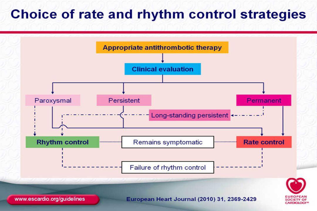 """""""Upstream kezelés – primer prevenció ACEi és ARB újkeletű PF prevenciójára szívelégtelenségben és csökkent EF esetén – IIaB ACEi és ARB – prevenció – hypertonia, főleg BKH - IIaB Statin – prevenció- CABG műtét után -IIaB Statin- prevenció – szívbetegség, főleg szívelégtelenség- IIbB ACEi, ARB és statin primer prevencióra nem ajánlott KV betegség nélkül – IIIC Eur Heart J 2010; 31:2369 - 2429"""