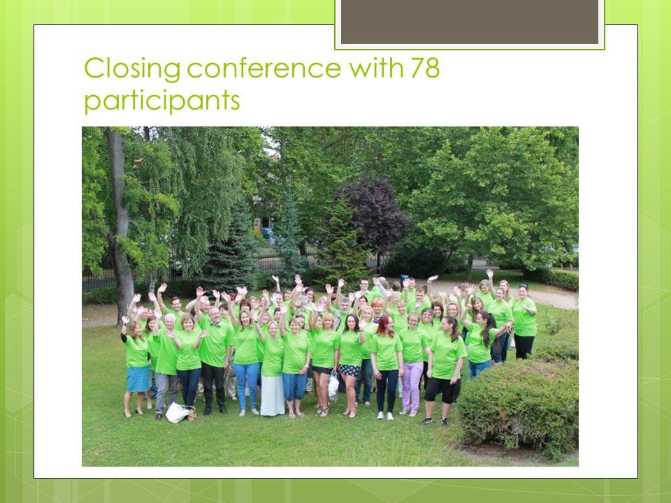 Closing conference with 78 participants  Program:  Péntek – megnyitó  Szombat délelőtt– új ismeretanyagok megszerzése a norvég szakszervezetekről é