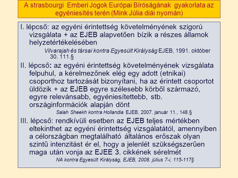 A strasbourgi Emberi Jogok Európai Bíróságának gyakorlata az egyéniesítés terén (Mink Júlia diái nyomán) I.
