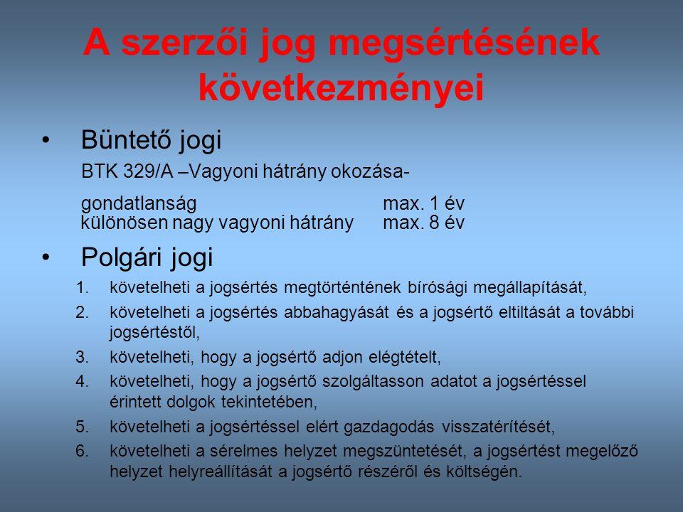 A szerzői jog megsértésének következményei Büntető jogi BTK 329/A –Vagyoni hátrány okozása- gondatlanság max.