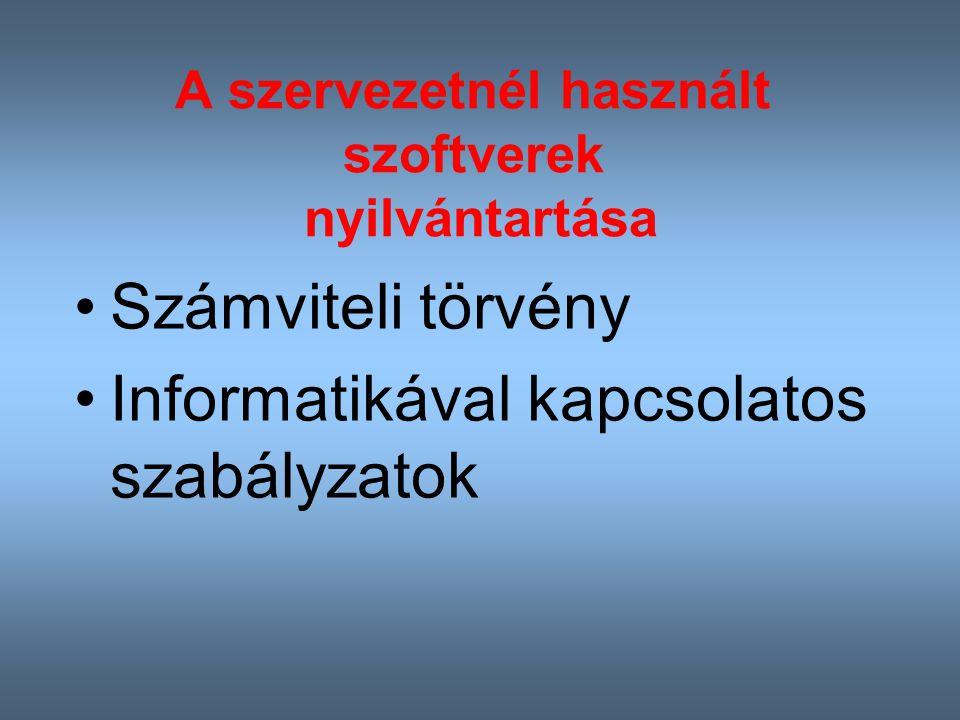 A szervezetnél használt szoftverek nyilvántartása Számviteli törvény Informatikával kapcsolatos szabályzatok