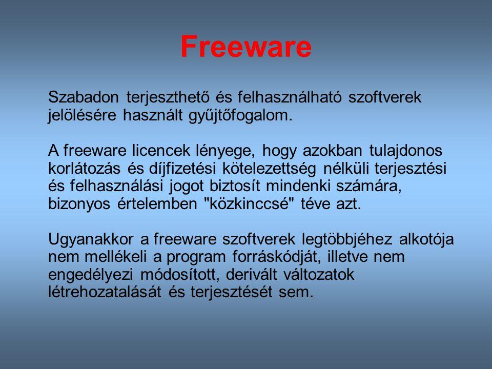 Freeware Szabadon terjeszthető és felhasználható szoftverek jelölésére használt gyűjtőfogalom.