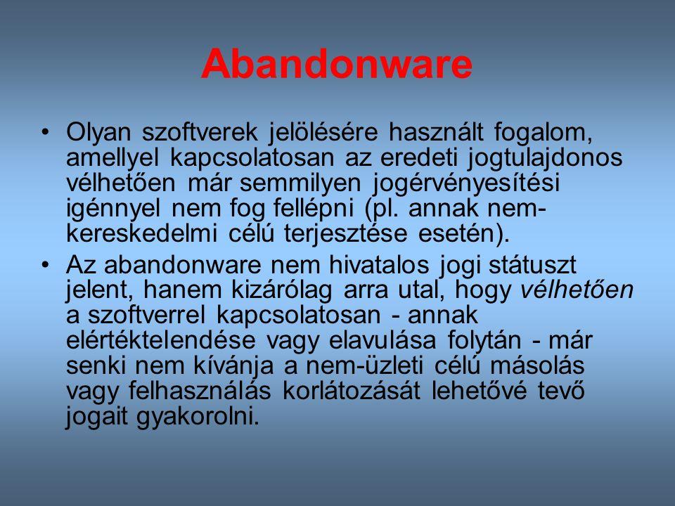 Abandonware Olyan szoftverek jelölésére használt fogalom, amellyel kapcsolatosan az eredeti jogtulajdonos vélhetően már semmilyen jogérvényesítési igénnyel nem fog fellépni (pl.