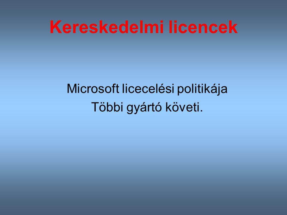 Kereskedelmi licencek Microsoft licecelési politikája Többi gyártó követi.