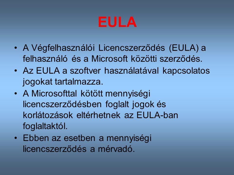EULA A Végfelhasználói Licencszerződés (EULA) a felhasználó és a Microsoft közötti szerződés.