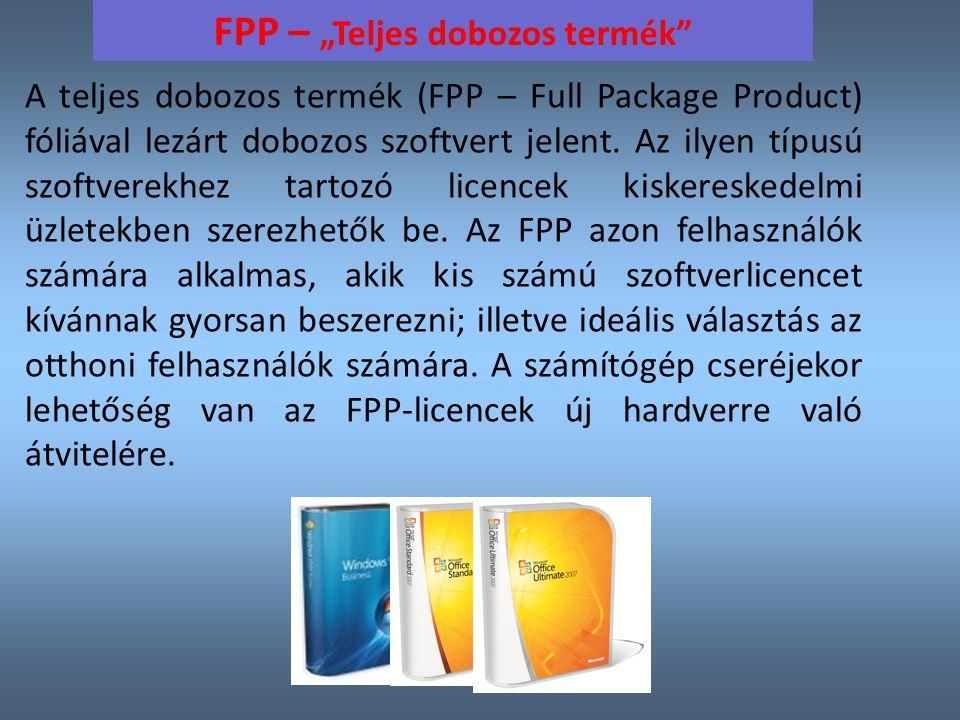 """FPP – """"Teljes dobozos termék A teljes dobozos termék (FPP – Full Package Product) fóliával lezárt dobozos szoftvert jelent."""