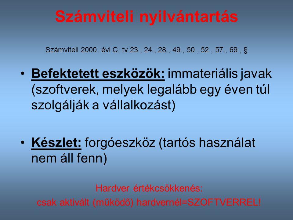 Számviteli nyilvántartás Számviteli 2000.évi C.