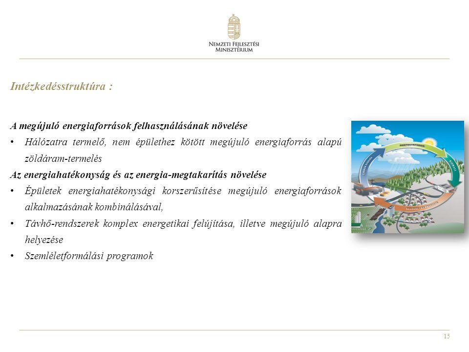 15 Intézkedésstruktúra : A megújuló energiaforrások felhasználásának növelése Hálózatra termelő, nem épülethez kötött megújuló energiaforrás alapú zöl