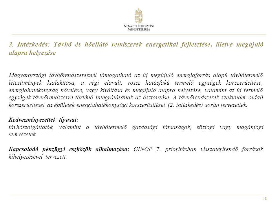 18 3. Intézkedés: Távhő és hőellátó rendszerek energetikai fejlesztése, illetve megújuló alapra helyezése Magyarországi távhőrendszereknél támogatható