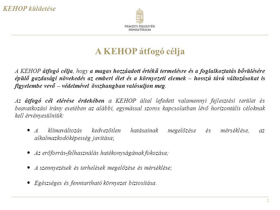 2 A KEHOP átfogó célja A KEHOP átfogó célja, hogy a magas hozzáadott értékű termelésre és a foglalkoztatás bővülésére épülő gazdasági növekedés az emb