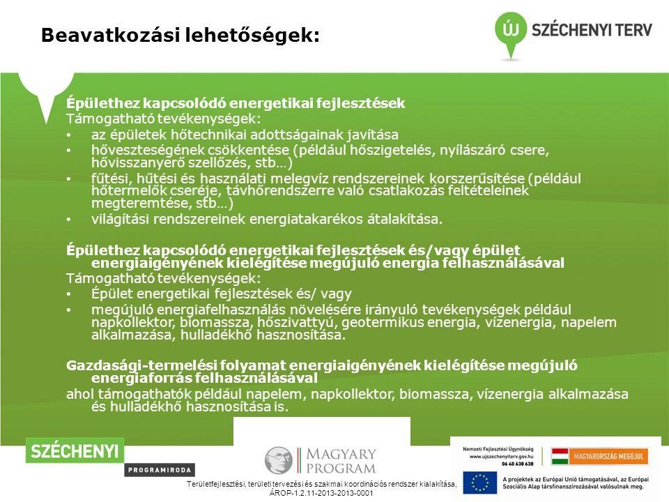 Területfejlesztési, területi tervezési és szakmai koordinációs rendszer kialakítása, ÁROP-1.2.11-2013-2013-0001 Beavatkozási lehetőségek: Épülethez kapcsolódó energetikai fejlesztések Támogatható tevékenységek: az épületek hőtechnikai adottságainak javítása hőveszteségének csökkentése (például hőszigetelés, nyílászáró csere, hővisszanyerő szellőzés, stb…) fűtési, hűtési és használati melegvíz rendszereinek korszerűsítése (például hőtermelők cseréje, távhőrendszerre való csatlakozás feltételeinek megteremtése, stb…) világítási rendszereinek energiatakarékos átalakítása.