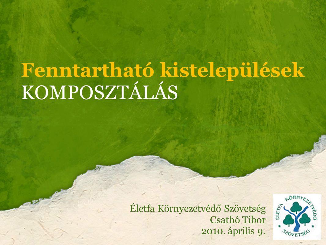 Magyarországi adatok Települési szilárd hulladék Mo-on 4,7 millió tonna ebből biológiailag lebomló rész: közel 2,4 millió tonna (papír, konyhai szerves hulladék, zöldhulladék, természetes alapanyagú textil, egyéb szerves) 2009-re – fokozatos fejlesztéssel – évente legalább 1,405 millió tonna biohulladék 2016-ra évente legalább 2,139 millió tonna biohulladék kezelését (előkezelését vagy elkülönítését és feldolgozását) kell megoldani.
