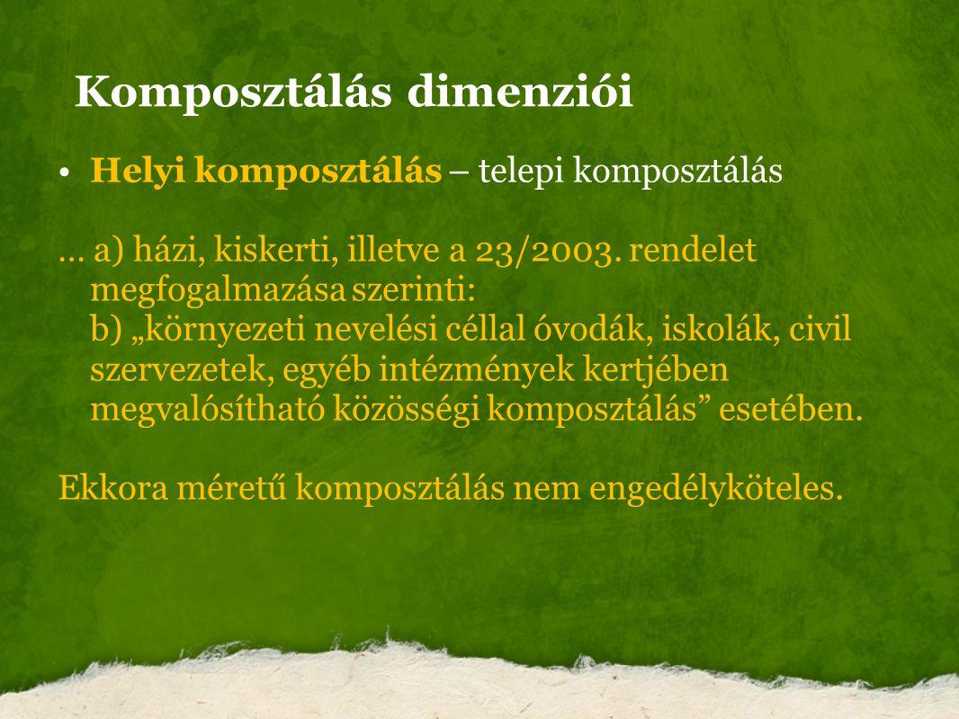 """Komposztálás dimenziói Helyi komposztálás – telepi komposztálás … a) házi, kiskerti, illetve a 23/2003. rendelet megfogalmazása szerinti: b) """"környeze"""