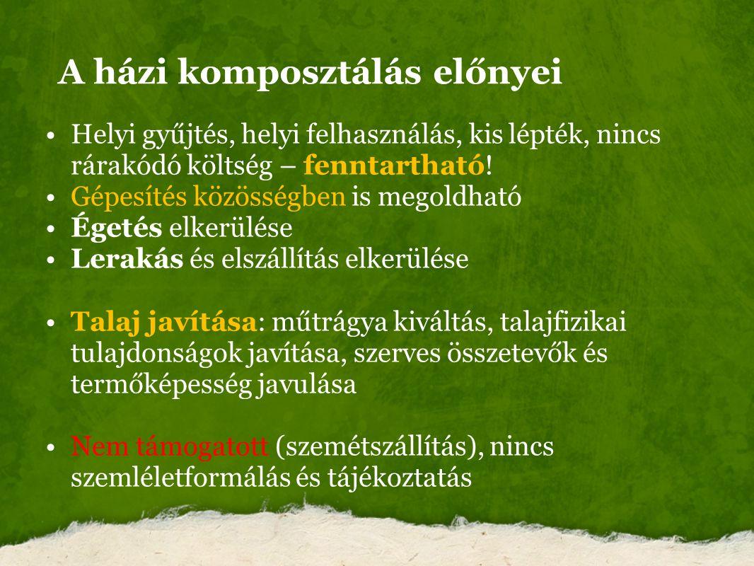 A házi komposztálás előnyei Helyi gyűjtés, helyi felhasználás, kis lépték, nincs rárakódó költség – fenntartható! Gépesítés közösségben is megoldható