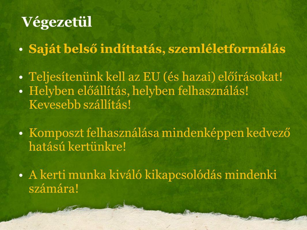 Végezetül Saját belső indíttatás, szemléletformálás Teljesítenünk kell az EU (és hazai) előírásokat! Helyben előállítás, helyben felhasználás! Keveseb