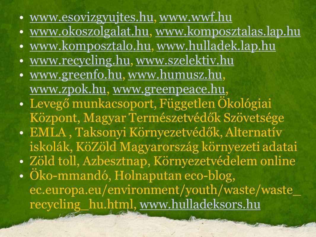 www.esovizgyujtes.hu, www.wwf.huwww.esovizgyujtes.huwww.wwf.hu www.okoszolgalat.hu, www.komposztalas.lap.huwww.okoszolgalat.huwww.komposztalas.lap.hu