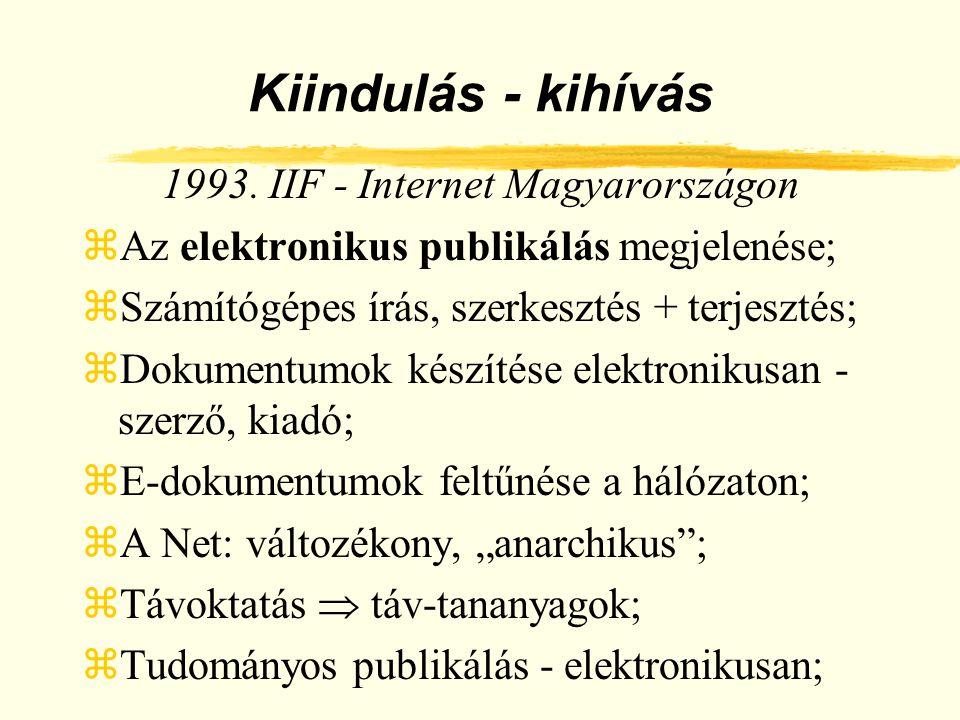 Kiindulás - kihívás 1993. IIF - Internet Magyarországon zAz elektronikus publikálás megjelenése; zSzámítógépes írás, szerkesztés + terjesztés; zDokume