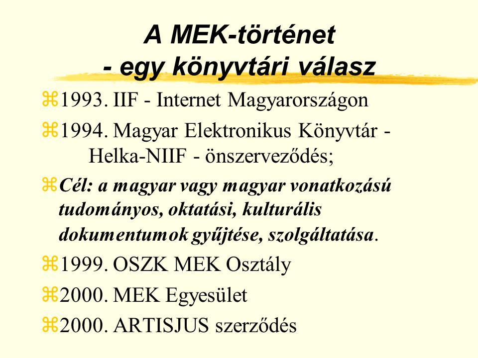 A MEK-történet - egy könyvtári válasz z1993. IIF - Internet Magyarországon z1994. Magyar Elektronikus Könyvtár - Helka-NIIF - önszerveződés; zCél: a m