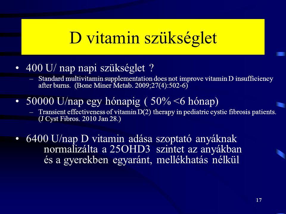 17 D vitamin szükséglet 400 U/ nap napi szükséglet ? –Standard multivitamin supplementation does not improve vitamin D insufficiency after burns. (Bon