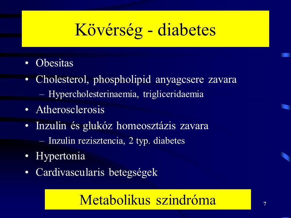 7 Kövérség - diabetes Obesitas Cholesterol, phospholipid anyagcsere zavara –Hypercholesterinaemia, trigliceridaemia Atherosclerosis Inzulin és glukóz