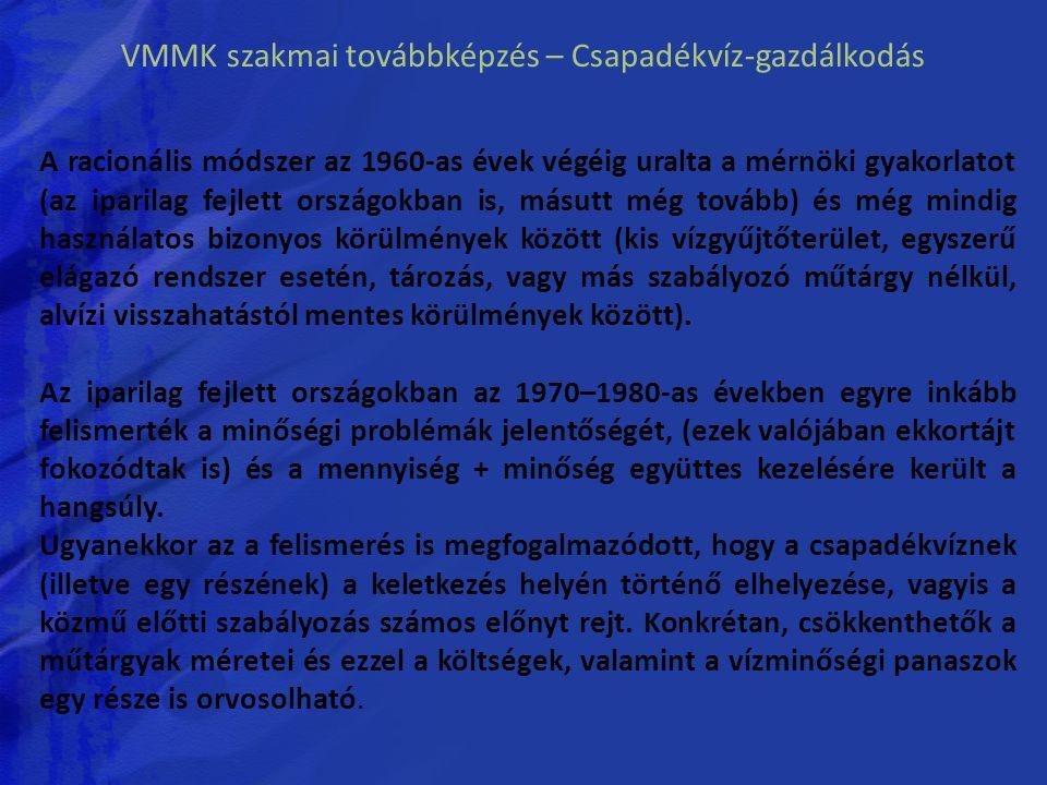 VMMK szakmai továbbképzés – Csapadékvíz-gazdálkodás A racionális módszer az 1960-as évek végéig uralta a mérnöki gyakorlatot (az iparilag fejlett orsz