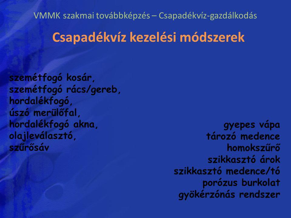 VMMK szakmai továbbképzés – Csapadékvíz-gazdálkodás Csapadékvíz kezelési módszerek szemétfogó kosár, szemétfogó rács/gereb, hordalékfogó, úszó merülőf