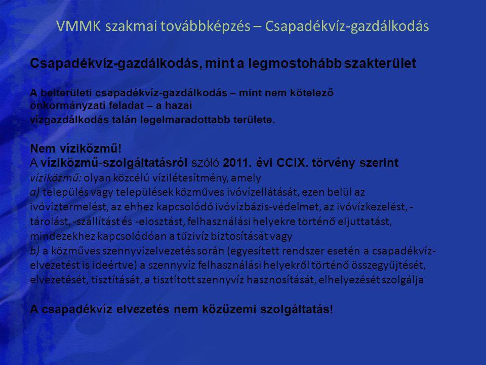 VMMK szakmai továbbképzés – Csapadékvíz-gazdálkodás Csapadékvíz-gazdálkodás, mint a legmostohább szakterület A belterületi csapadékvíz-gazdálkodás – m